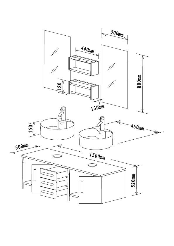 badm bel waschplatz waschtisch massiv doppelwaschtisch ebay. Black Bedroom Furniture Sets. Home Design Ideas