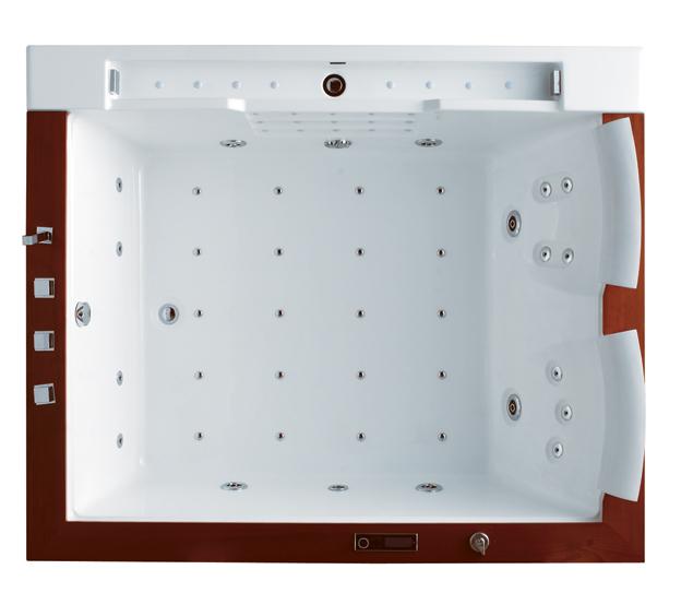 wellgems whirlpool wg u2607a whirlwanne badewanne m heizung echtholz 2 personen ebay. Black Bedroom Furniture Sets. Home Design Ideas