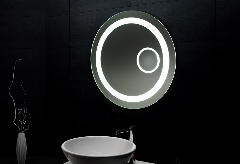 design wand spiegel badezimmerspiegel mit led beleuchtung 3 d effekt ebay. Black Bedroom Furniture Sets. Home Design Ideas